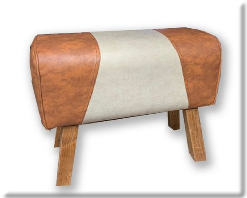 88cm Faux Leather And Canvas Effect Gym Pommel Horse Stool